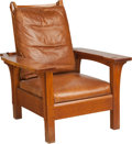 Furniture : American, A Stickley Oak Morris Chair with Leather Cushions. 41 h x 35 w x38-1/2 d inches (104.1 x 88.9 x 97.8 cm). PROPERTY FROM A...