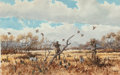 Fine Art - Work on Paper:Watercolor, David Drinkard (American, b. 1948). Quail Rise. Watercoloron paper. 11 x 16 inches (27.9 x 40.6 cm) (sheet). Signed low...