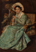 Paintings, Simon Willem Maris (Dutch, 1873-1935). Portrait of seated lady in blue dress, 1907. Oil on canvas. 25 x 17 inches (63.5 ...