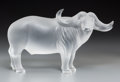 Art Glass:Lalique, A Lalique Clear and Frosted Glass Water Buffalo, post-1945.8-1/8 h x 14-1/4 w x 5 d inches (20.6 x 36.2 x 12.7 cm)...