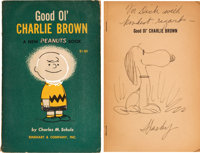 Good Old Charlie Brown Charles Schulz Autographed Book with Snoopy Sketch (Rinehart and Company, 1957)
