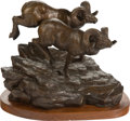 Fine Art - Sculpture, American, Clark Everice Bronson (American, b. 1939). Down WindsweptPeaks, 1981. Bronze with brown patina. 11 inches (27.9 cm)hig...
