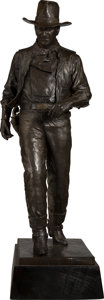Fine Art - Sculpture, American, Robert Summers (American, b. 1940). John Wayne, 1981. Bronzewith brown patina. 33-1/2 inches (85.1 cm) high on a 4 inch...