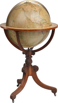 G.F. Cruchley's Terrestrial Globe on Carved Mahogany Stand, London, England, circa 1860 46-1/2 inches high x 27 in