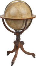 Decorative Arts, British:Other , J & W Cary's New and Improved Celestial Globe on MahoganyStand, early 19th century. 47 inches high x 27 inches diameter(11...