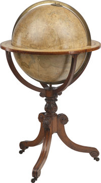 J & W Cary's New and Improved Celestial Globe on Mahogany Stand, early 19th century 47 inches high x 27 inches dia...