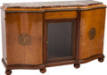 Furniture : Continental, A De Coene Freres Art Deco Mahogany and Burlwood Buffet with MarbleTop, Belgium, circa 1930. 41-1/2 h x 66 w x 21 d inches ... (Total:2 Items)