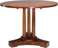 Furniture : Continental, A Josef Danhauser Biedermeier Walnut Tilt-Top Center Table, Vienna,Austria, circa 1830. 31 inches high x 42-1/2 inches diam...