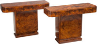 A Pair of French Art Deco Burled Walnut Console Tables, circa 1930 30-1/4 h x 40-1/2 w x 14-1/8 d inches (76.8 x 1