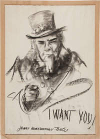 "James Montgomery Flagg: Iconic ""Uncle Sam I Want You"" Sketch Artist-Signed"