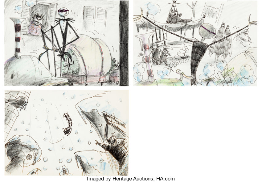 animation artproduction drawing tim burtons nightmare before christmas jack skellingtonstoryboardconcept art - Tim Burtons The Nightmare Before Christmas