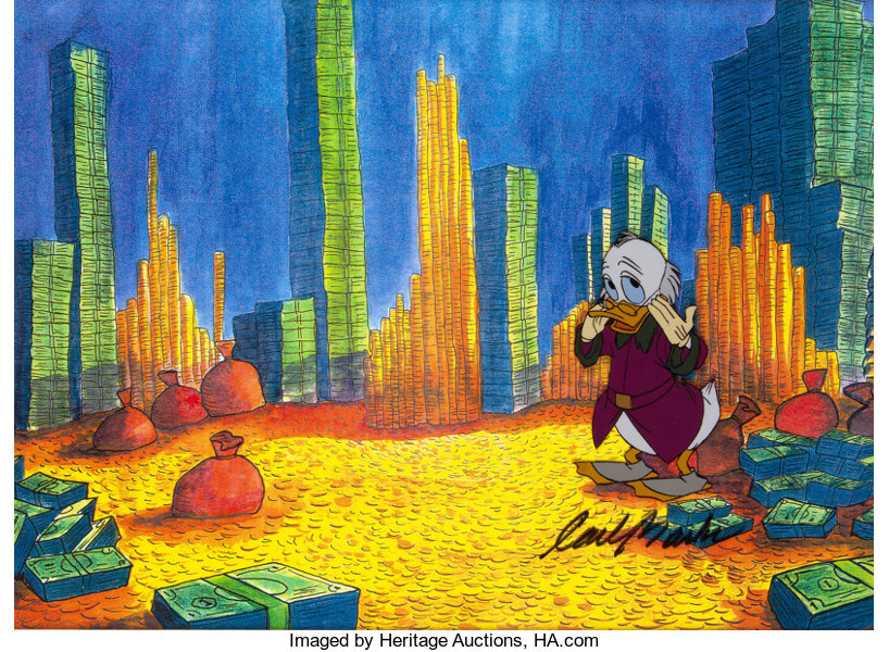 scrooge mcduck and money uncle scrooge production cel signed by