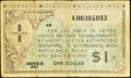 Military Payment Certificates:Series 461, Series 461 $1 Replacement Very Good-Fine.. ...