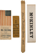 Political:Ribbons & Badges, William McKinley: Four Silk Campaign Ribbons....