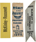 Political:Ribbons & Badges, McKinley & Roosevelt: Three Nice 1900 Campaign Ribbons....