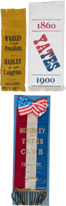 Political:Presidential Relics, William McKinley: Three Uncommon Coat-Tail Ribbons. ...