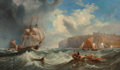 Fine Art - Painting, European:Antique  (Pre 1900), James Wilson Carmichael (British, 1800-1868). Passing theharbour buoy, Whitby, 1867. Oil on canvas. 26 x 44 inches(66.... (Total: 2 Items)