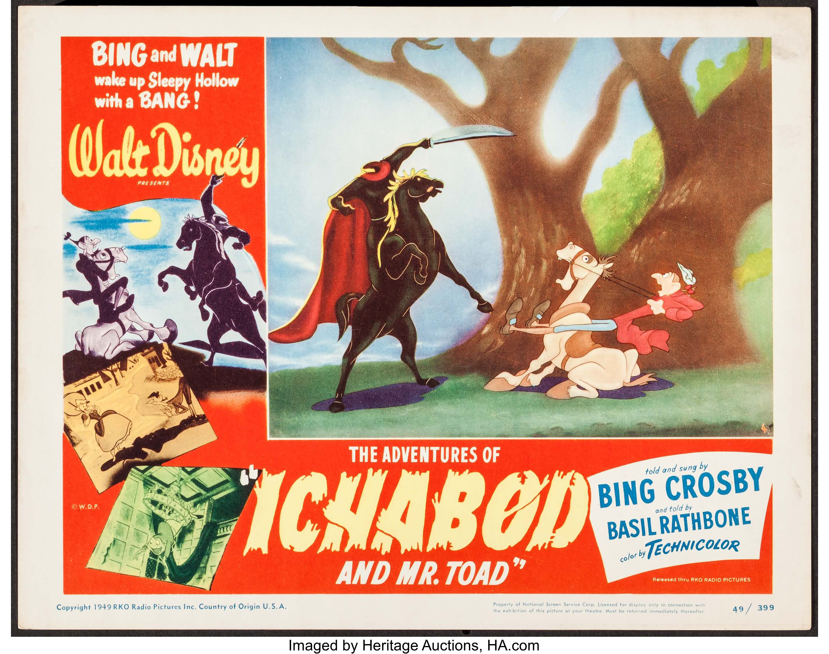 """THE ADVENTURES OF ICHABOD AND MR TOAD 22/"""" x 28/"""" DISNEY POSTER"""
