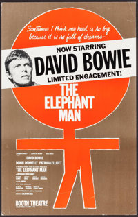 "David Bowie in The Elephant Man (Booth Theatre, 1980). Theater Window Card (14"" X 22""). Drama"