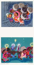 Animation Art:Production Drawing, Las Posadas (The Three Caballeros) Christmas Cards PersonalPortfolio Page Signed by Mary Blair (Walt Disney/Hallmark,...