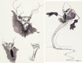 Animation Art:Concept Art, Tim Burton The Black Cauldron Horned King Concept DrawingsGroup of 2 (Walt Disney, 1985). ... (Total: 2 Items)