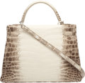 Luxury Accessories:Bags, Hermes 32cm Matte White Himalayan Nilo Crocodile Retourne Kelly Bagwith Palladium Hardware. R Square, 2014. Condition...