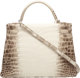 Hermes 32cm Matte White Himalayan Nilo Crocodile Retourne Kelly Bag with Palladium Hardware R Square, 2014 Condition