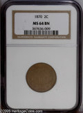 Two Cent Pieces: , 1870 2C MS64 Brown NGC. PCGS Population: (13/0). NGC Census:(27/13). Mintage: 860,250. Numismedia Wsl. Price: $288....