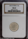 Shield Nickels: , 1873 5C Closed 3 MS64 NGC. PCGS Population: (57/29). NGC Census:(55/34). Mintage: 4,500,000. Numismedia Wsl. Price: $424.