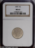 Shield Nickels: , 1874 5C MS63 NGC. PCGS Population: (40/85). NGC Census: (19/63).Mintage: 3,538,000. Numismedia Wsl. Price: $240.. From T...