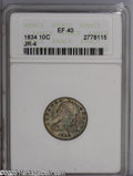 Bust Dimes: , 1834 10C Small 4 XF40 ANACS. JR-4. PCGS Population: (4/152). NGCCensus: (10/198). Mintage: 635,000. Numismedia Wsl. Price:...