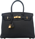 Luxury Accessories:Bags, Hermes Special Order Horseshoe 30cm Black & Vert Anis TogoLeather Birkin Bag with Gold Hardware. Q Square, 2013. ...