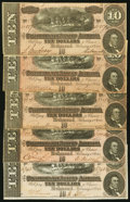 Confederate Notes:1864 Issues, T68 $10 1864. Five Examples.. ... (Total: 5 notes)