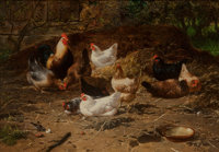Eugène Remy Maes (Belgian, 1849-1931) Feeding Time Oil on panel 10-1/2 x 14-1/4 inches (26.7 x 36