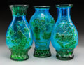Asian:Chinese, Three Chinese Blue and Green Peking Glass Vases. Marks:(multi-character marks). 10 inches high (25.4 cm). ... (Total: 3Items)