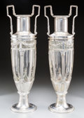 Silver Holloware, Continental:Holloware, A Large Pair of Art Deco-Style Cut-Glass and Silver-Plated Two-PartUrns. 24 inches high (61.0 cm). ... (Total: 4 Items)