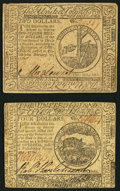 Colonial Notes, Continental Currency February 17, 1776 $2 Extremely Fine..Continental Currency February 17, 1776 $4 Extremely Fine.. ...(Total: 2 notes)