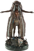 Fine Art - Sculpture, American, Harold Shelton (American, 1918-1999). Prayer for the Return ofthe Buffalo. Bronze with polychrome. 30 inches (76.2 cm) ...