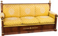 Furniture : Continental, A German Empire Mahogany and Gilt Bronze Upholstered Schrank Sofa,Schleswig-Holstein, North Germany, early 19th century. 43...(Total: 3 Items)
