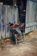Paintings, Ruth Goldsborough (American, 1918-2013). The Saddle, 1979. Oil on canvas. 36 x 24 inches (91.4 x 61.0 cm). Signed and da...