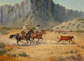 Fine Art - Painting, American:Contemporary   (1950 to present)  , Ruth Goldsborough (American, 1918-2013). Calf Roping forBranding, 1980. Oil on canvas. 23 x 30-1/2 inches (58.4 x 77.5...