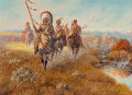 Fine Art - Painting, American:Contemporary   (1950 to present)  , Mel Bradshaw (American, 20th Century). Warrior's Pride,1983. Oil on canvas. 18 x 24 inches (45.7 x 61.0 cm). Signed, da...