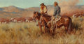 Fine Art - Painting, American:Contemporary   (1950 to present)  , Gary Lawrence Niblett (American, b. 1943). Cattle Country.Oil on canvas. 10 x 18 inches (25.4 x 45.7 cm). Signed and in...