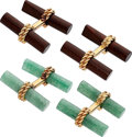 Estate Jewelry:Cufflinks, Aventurine Quartz, Wood, Gold Cuff Links, Van Cleef & Arpels . ...