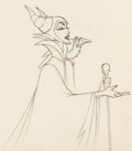Animation Art:Production Drawing, Sleeping Beauty Maleficent and Diablo Animation Drawing(Walt Disney, 1959)....