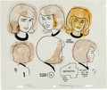 Animation Art:Concept Art, The Fantastic Four Sue Storm Character Design/Model Sheet byAlex Toth (Hanna-Barbera, 1967). ...