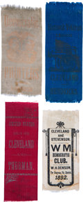 Political:Ribbons & Badges, Grover Cleveland: Four Uncommon 1884 and 1888 and 1892 Ribbons....