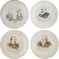 """Political:3D & Other Display (pre-1896), Cleveland, Thurman & Harrison: Four 8"""" China Plates.... (Total: 4 Items)"""
