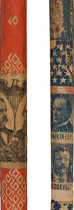 Political:3D & Other Display (pre-1896), Cleveland & Thurman and McKinley & Roosevelt: Jugate Paper-Covered Canes.... (Total: 2 Items)
