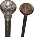 Political:3D & Other Display (1896-present), William McKinley and Theodore Roosevelt: Campaign Canes.... (Total:2 Items)